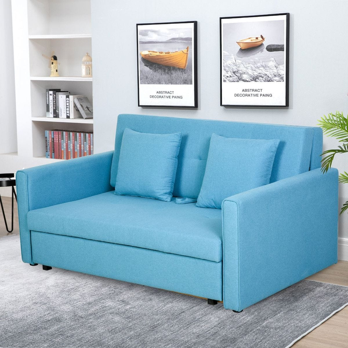 Two Seater Storage Sofa Bed Wood Frame Padding Compact Blue