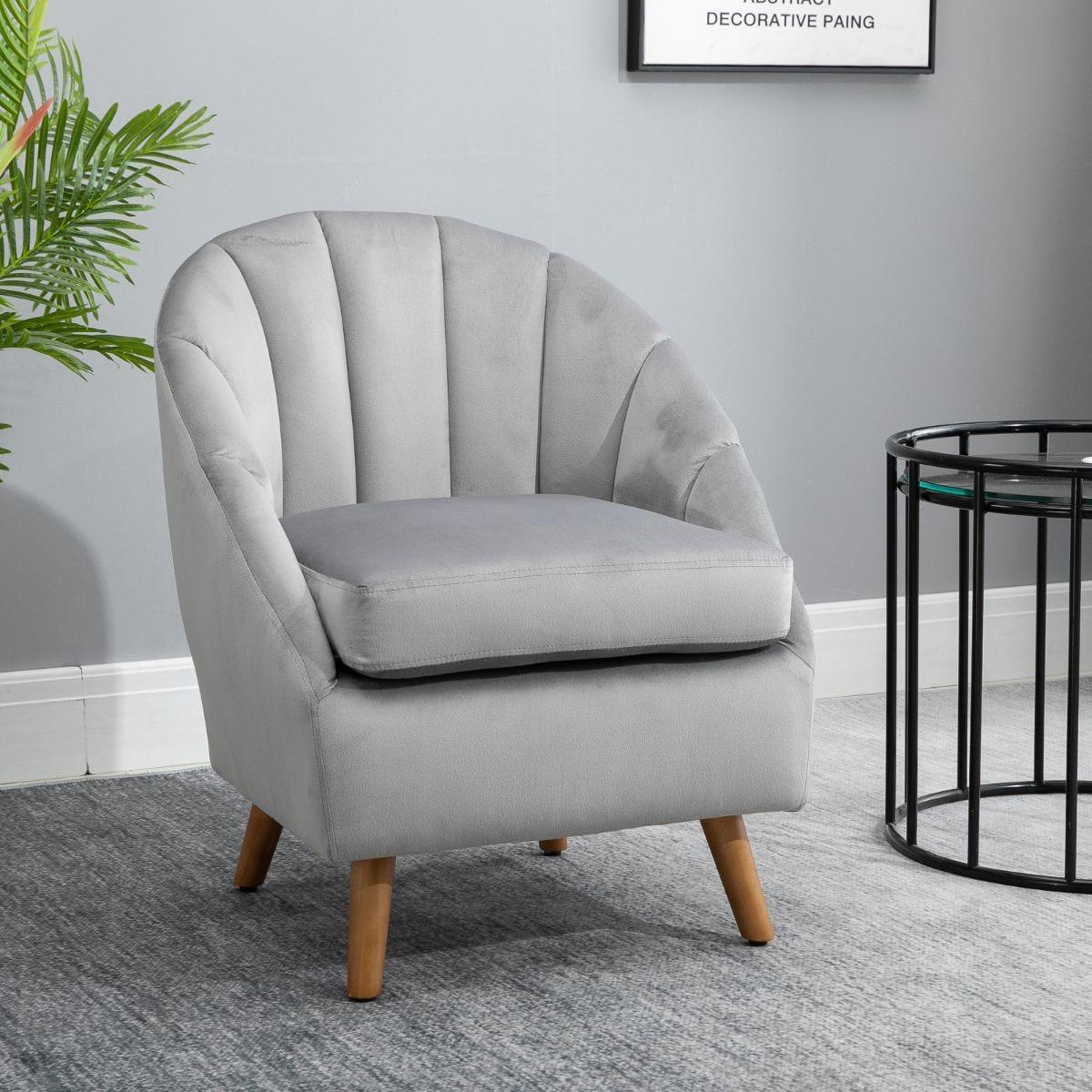 Shell Back Armchair Vintage Velvet Style Fabric Solid Wood Legs Light Grey