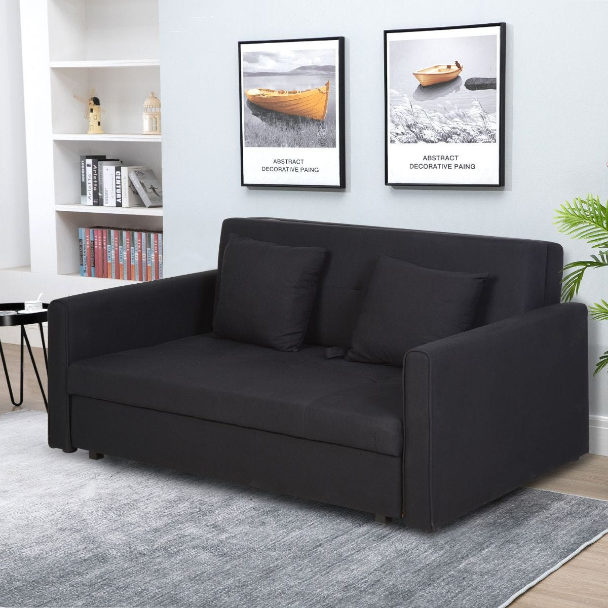 Two Seater Storage Sofa Bed Wood Frame Padding Compact Dark Grey