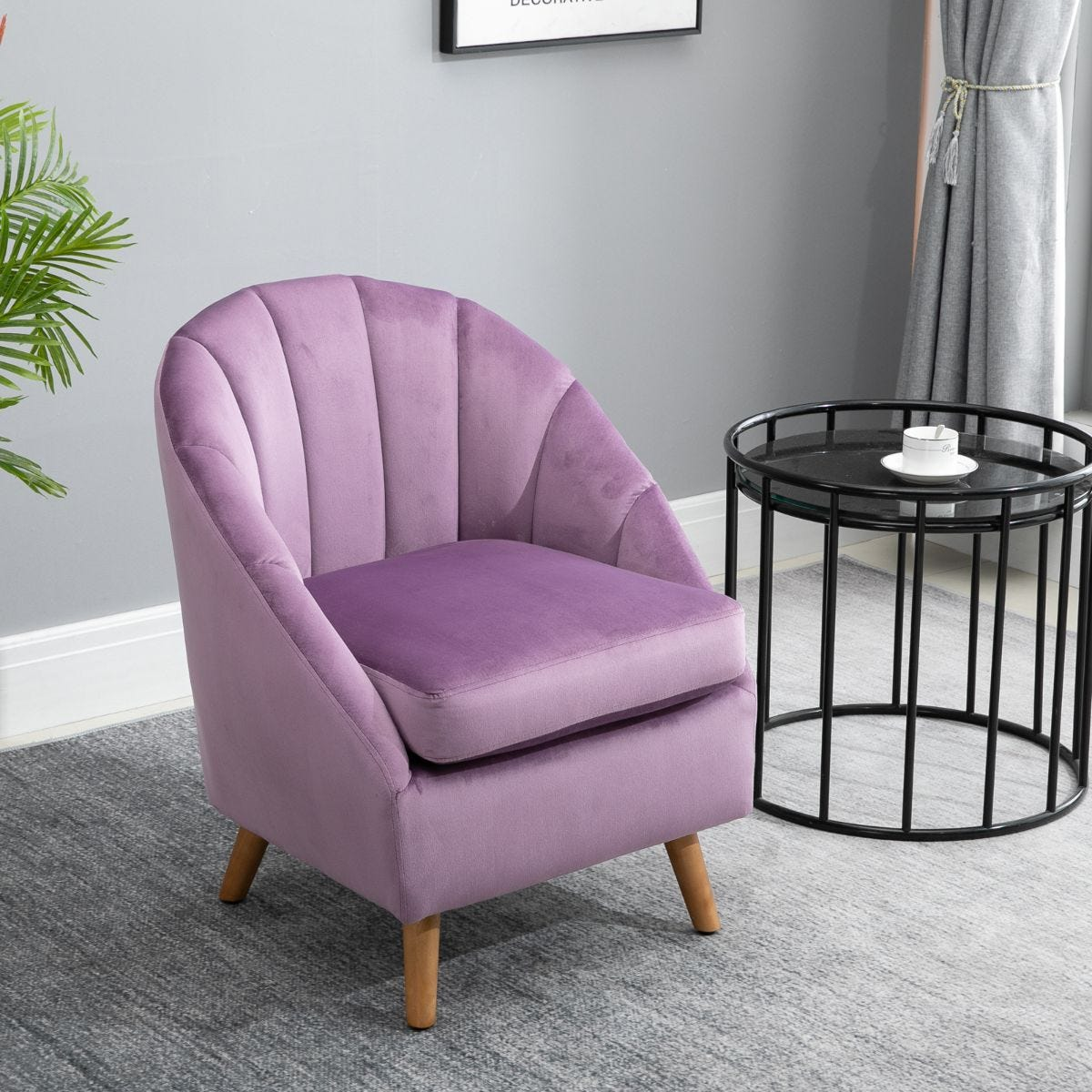 Shell Back Armchair Vintage Velvet Style Fabric Solid Wood Legs Violet