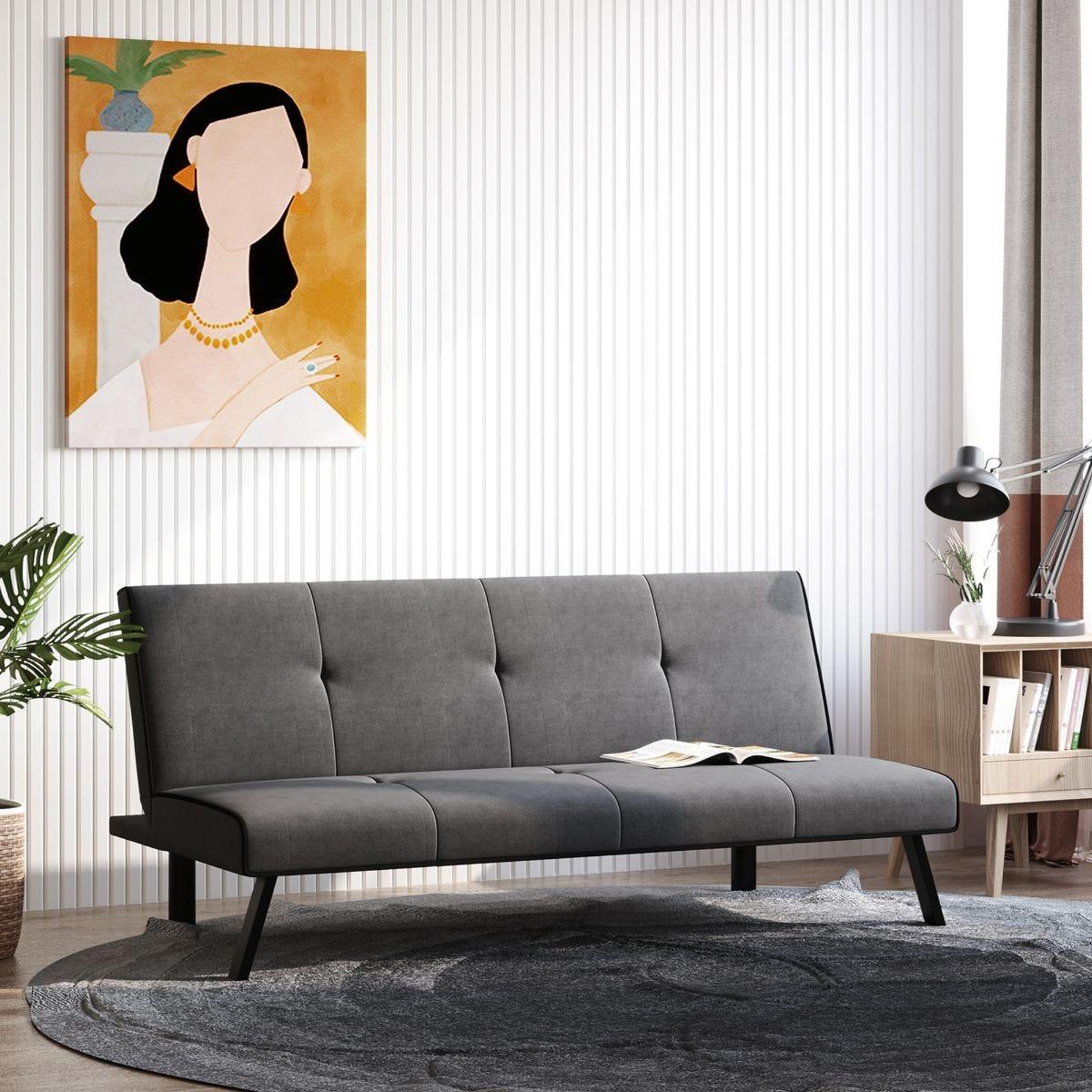 Three Seater Sofa Bed Adjustable Back Velvet Style Fabric Grey