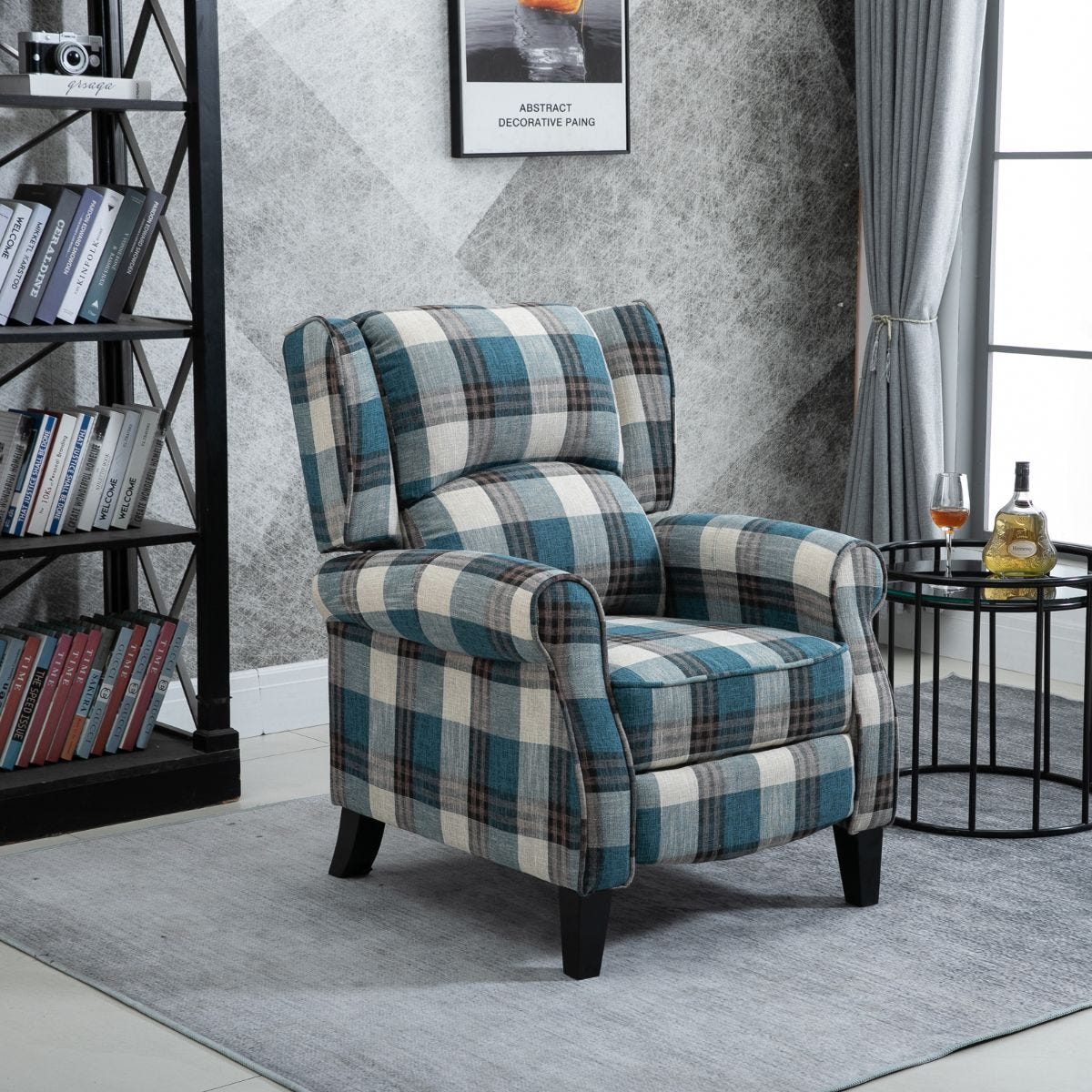 Manual Reclining Armchair Padded Seat With Armrest Blue And Grey Tartan