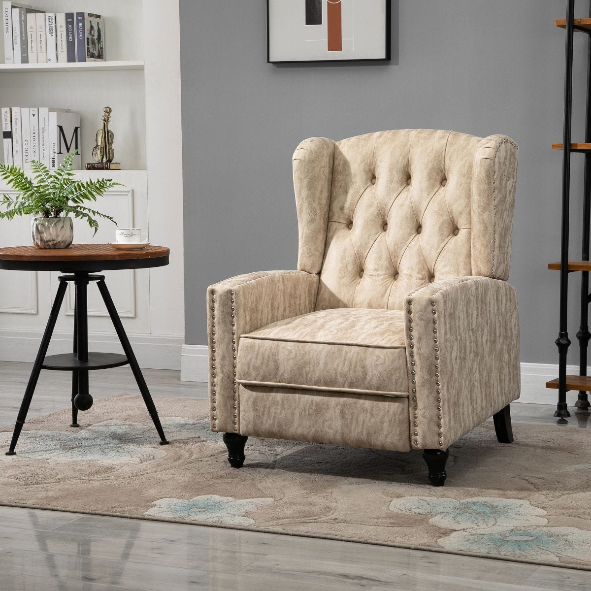 Marble Effect Manual Reclining Armchair With Footrest Studs Wood Legs Beige