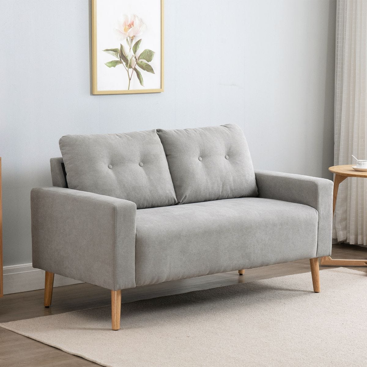 Two Seater Compact Fabric Sofa Loveseat Grey