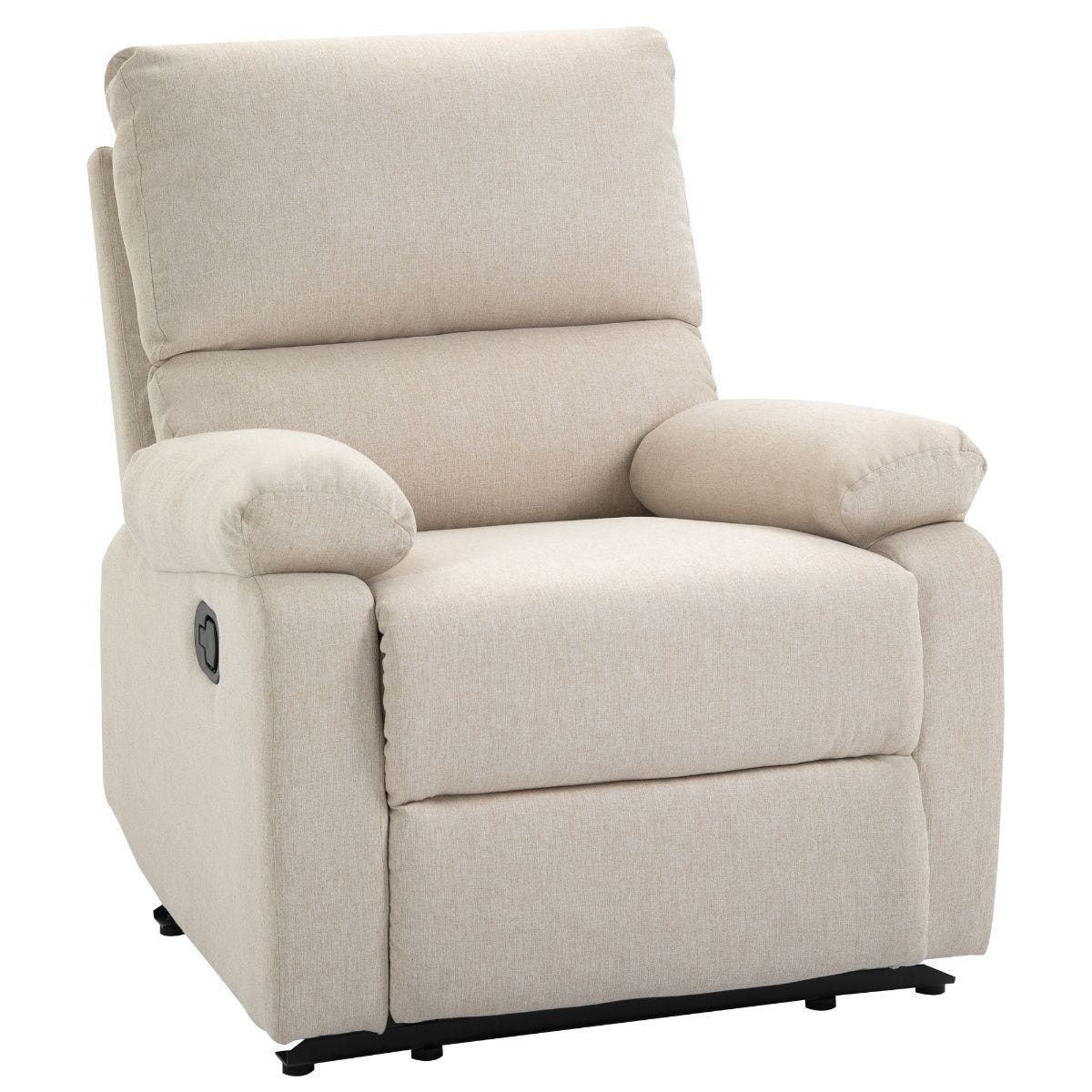 Padded Manual Recliner Armchair With Footrest Metal Frame Beige