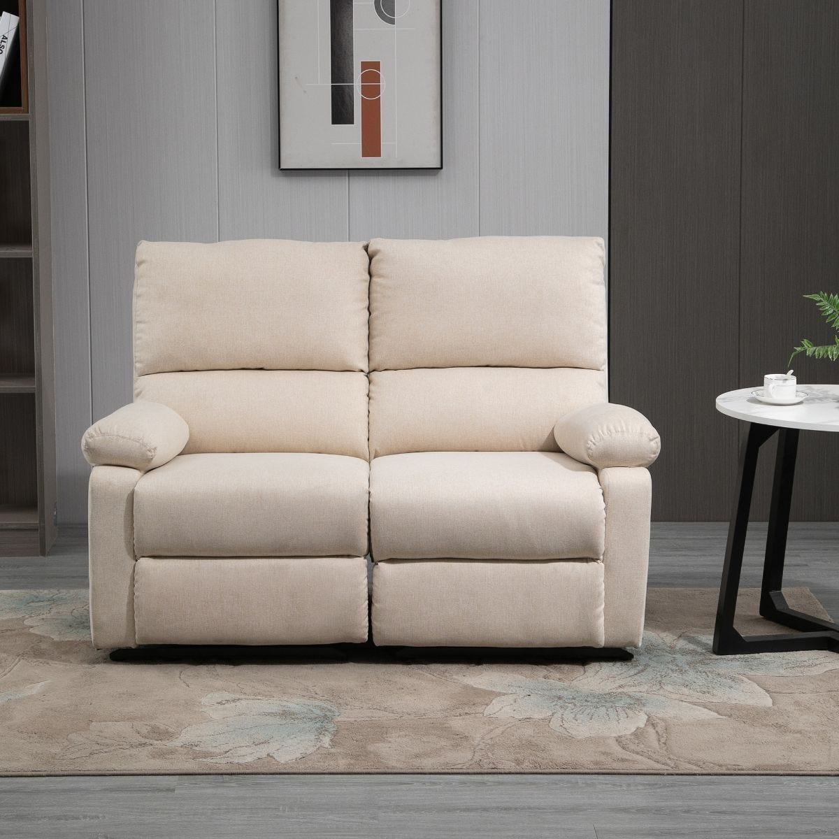 Manual Recliner 2 Seater Sofa Linen Style Fabric Beige