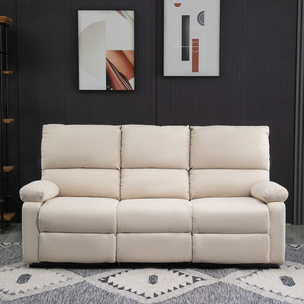 Reclining Three Seater Sofa Home Theater Seat Beige