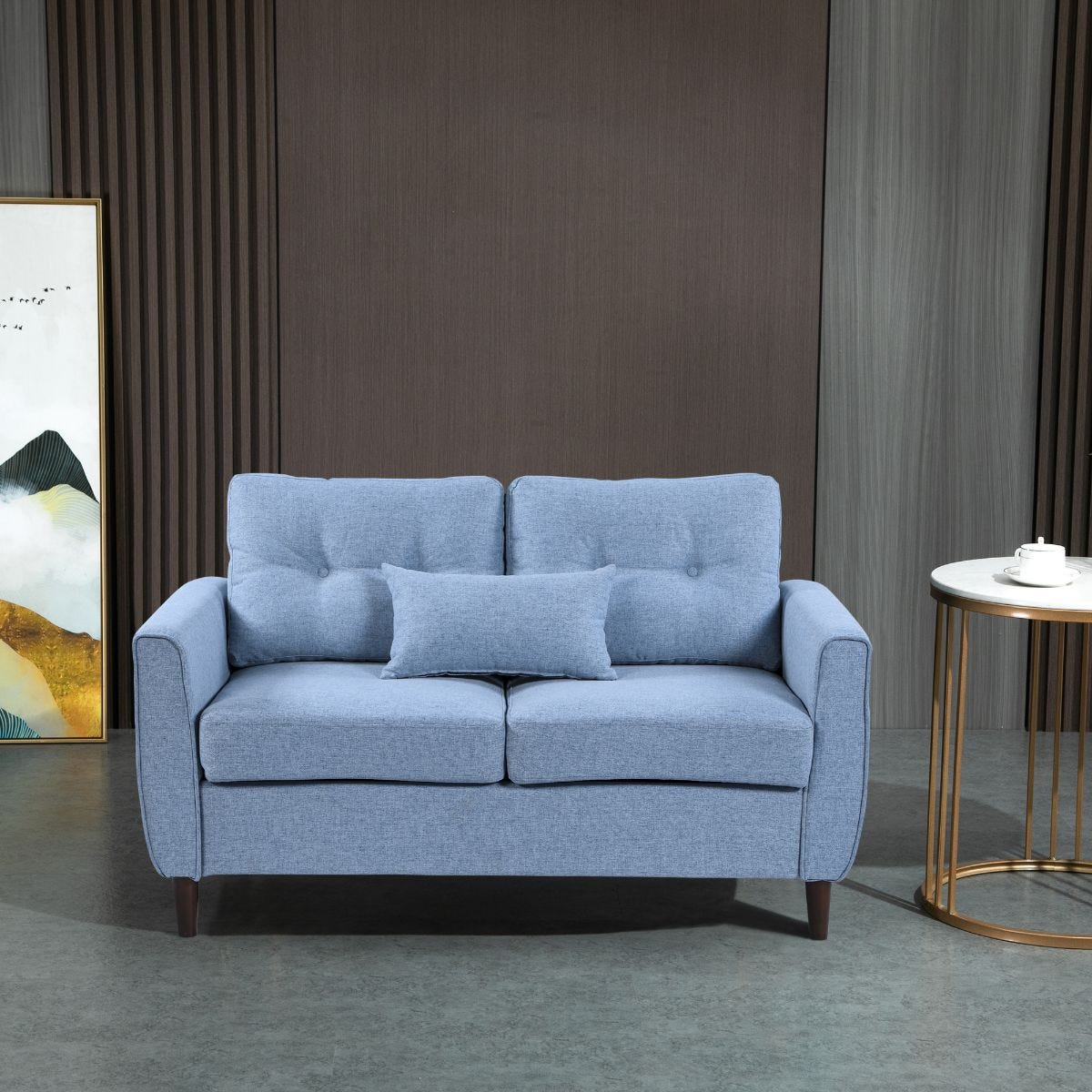Two Seater Sofa Loveseat with Armrests Light Blue