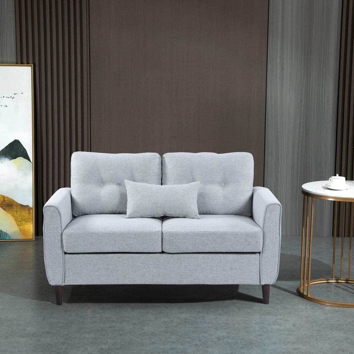 Two Seater Sofa Loveseat with Armrests Light Grey