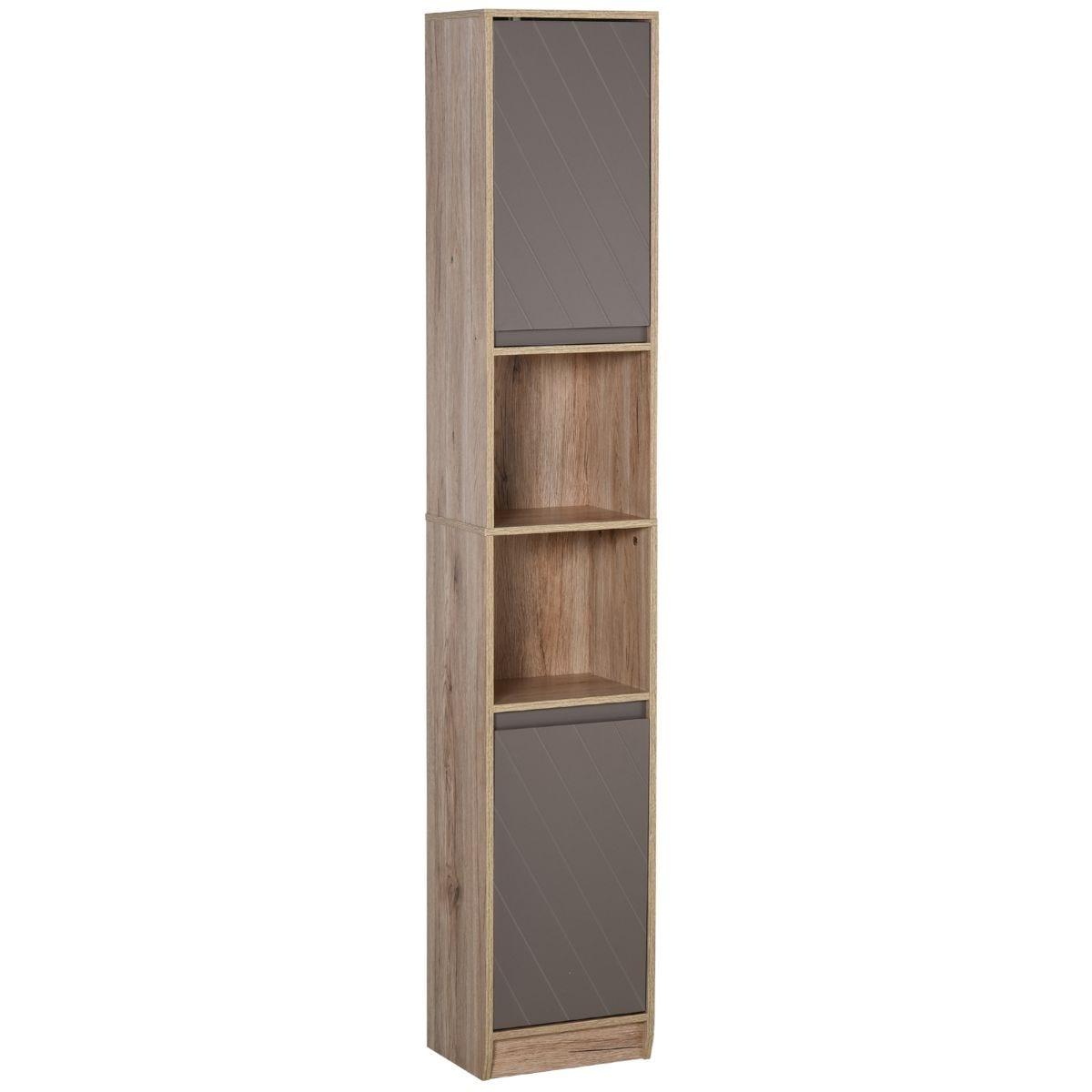 170cm Freestanding Storage Cabinet Slimline Unit With 2 Cupboards 2 Shelves