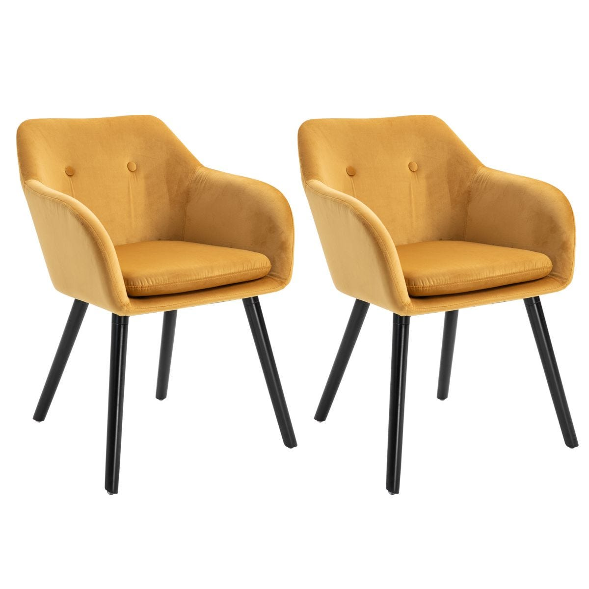 Set of 2 Modern Upholstered Fabric Bucket Seat Dining Armchairs Yellow