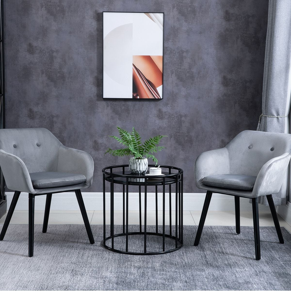 Set of 2 Modern Upholstered Fabric Bucket Seat Dining Armchairs Grey