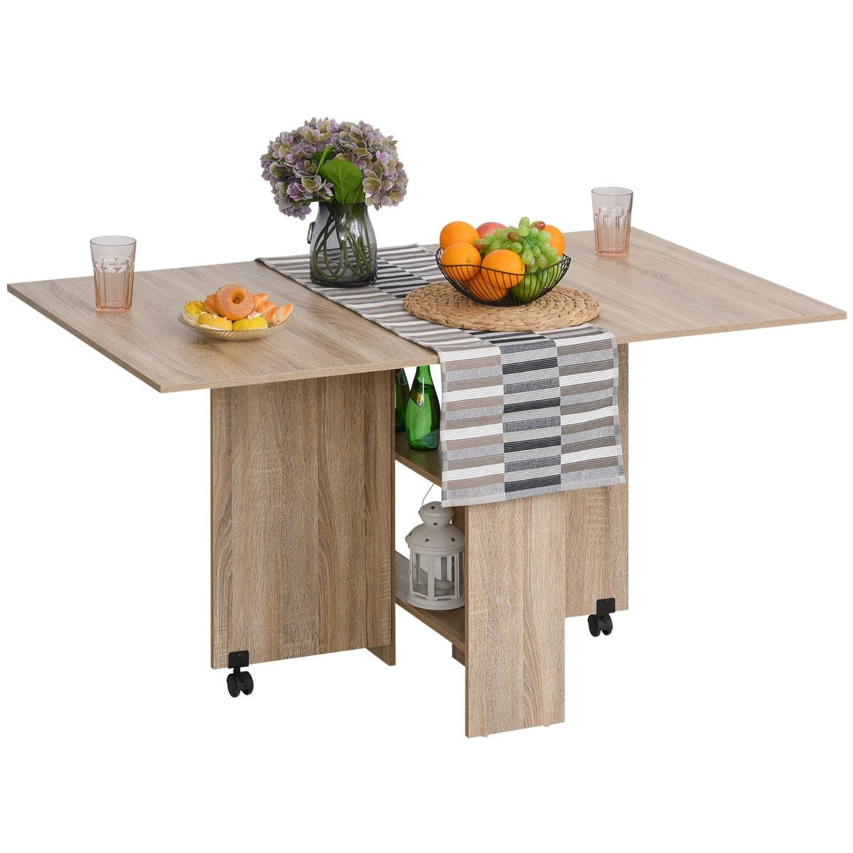 Six Seater Expandable Drop Leaf Dining Table With Wheels Storage Shelf Natural Wood Effect