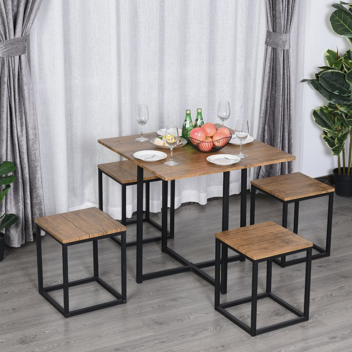 5 Pieces Industrial Boxy Bar Style Dining Table And Stool Set Metal Frame