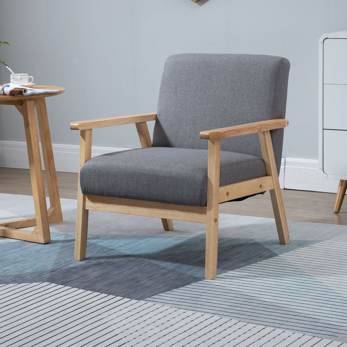 Minimalistic Armchair Wood Frame With Linen Cushions Wide Seat Grey