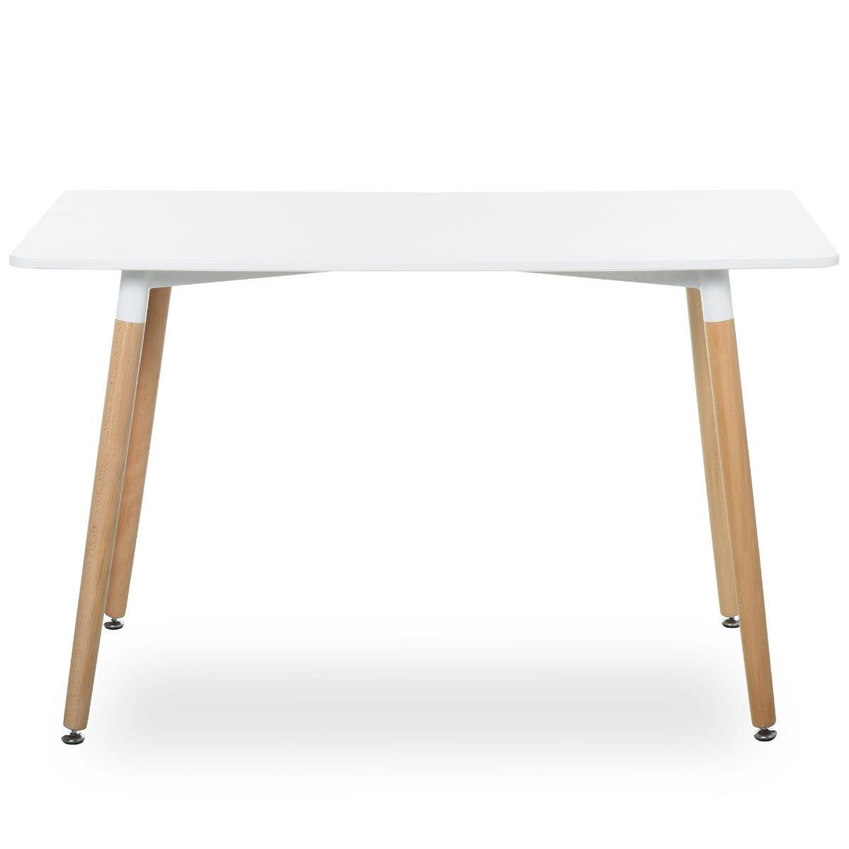 Scandinavian Style Dining Table Beech Wood Legs Adjustable Feet White