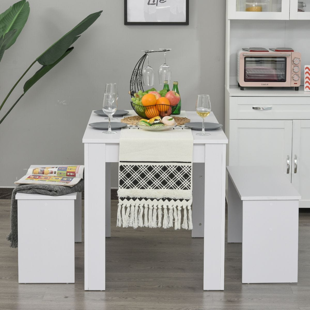 Compact Three Piece Modern Dining Table Set With Table 2 Bench Seats White