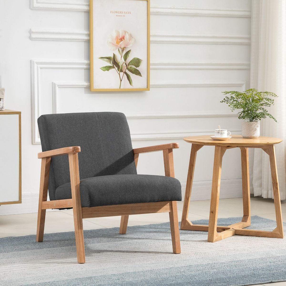 Modern Fabric Armchair with Rubberwood Legs Grey