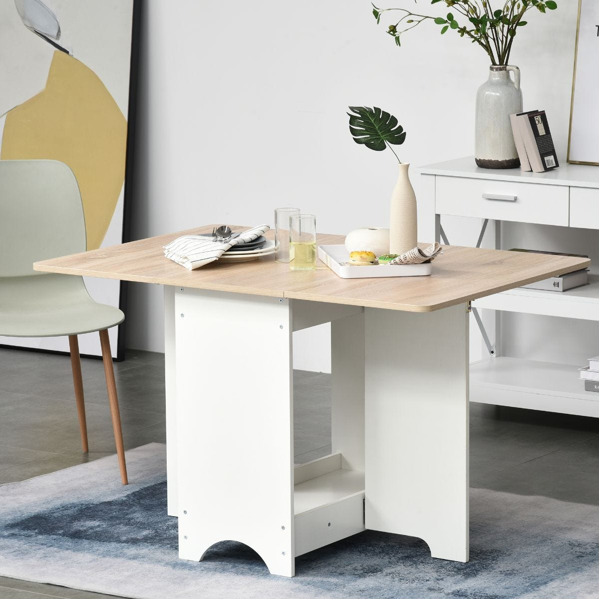 Four Seater Drop Leaf Folding Dining Table With Storage Shelf White And Oak Effect