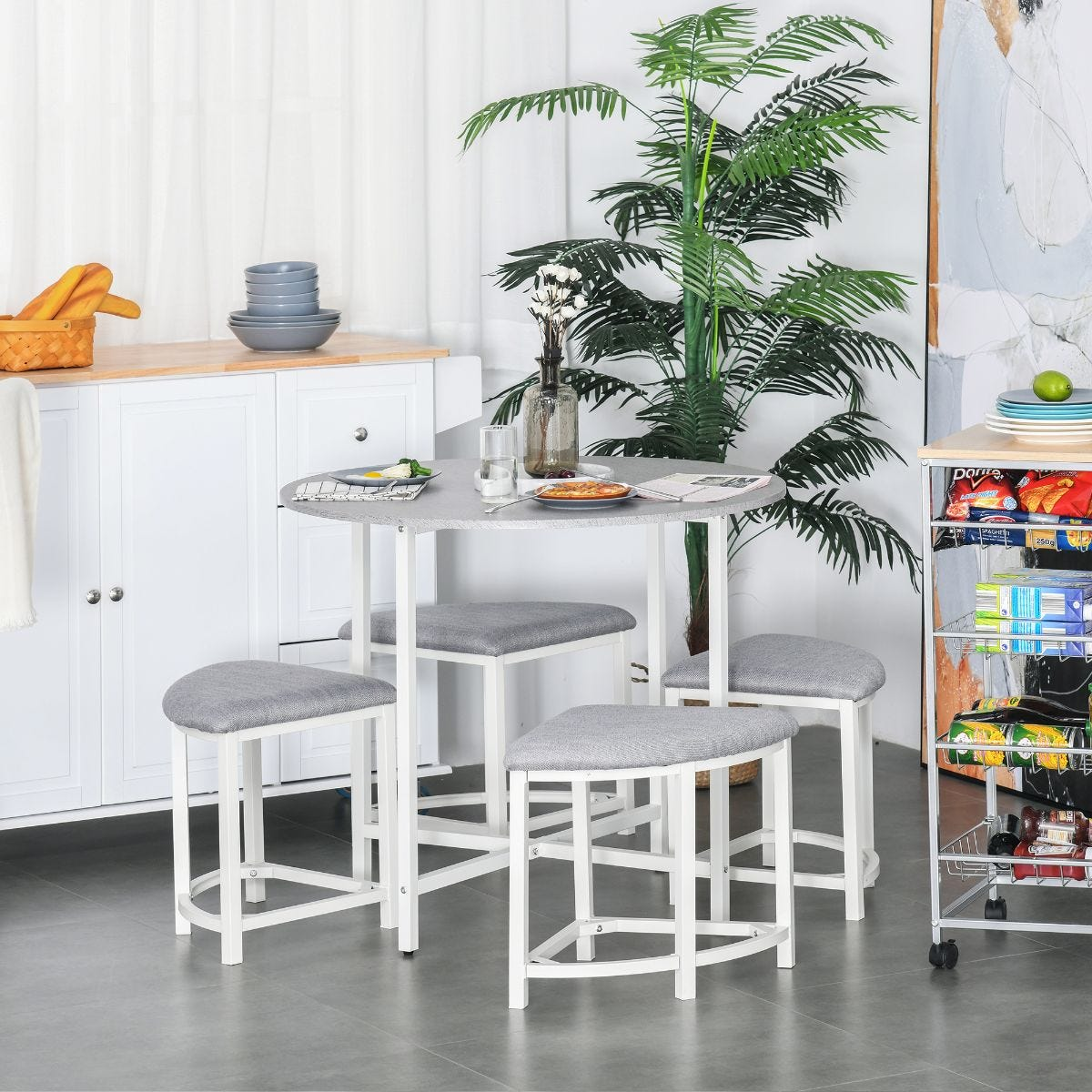 5 Piece Modern Round Dining Table Set with 4 Upholstered Stools Grey And White