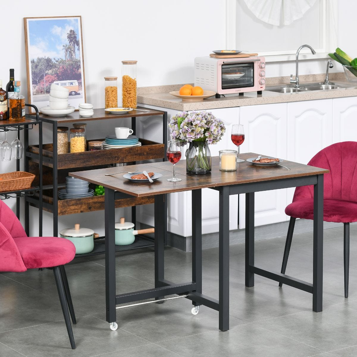 Industrial Style Drop Leaf Foldable Kitchen Dining Table