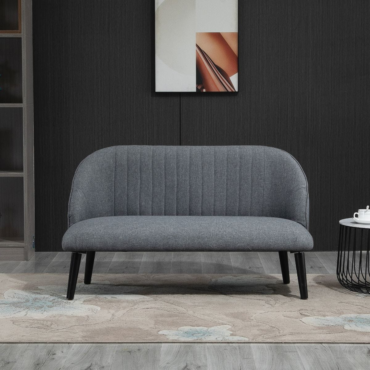Compact Linen Look Modern 2 Seater Sofa Loveseat With Wood Legs Grey