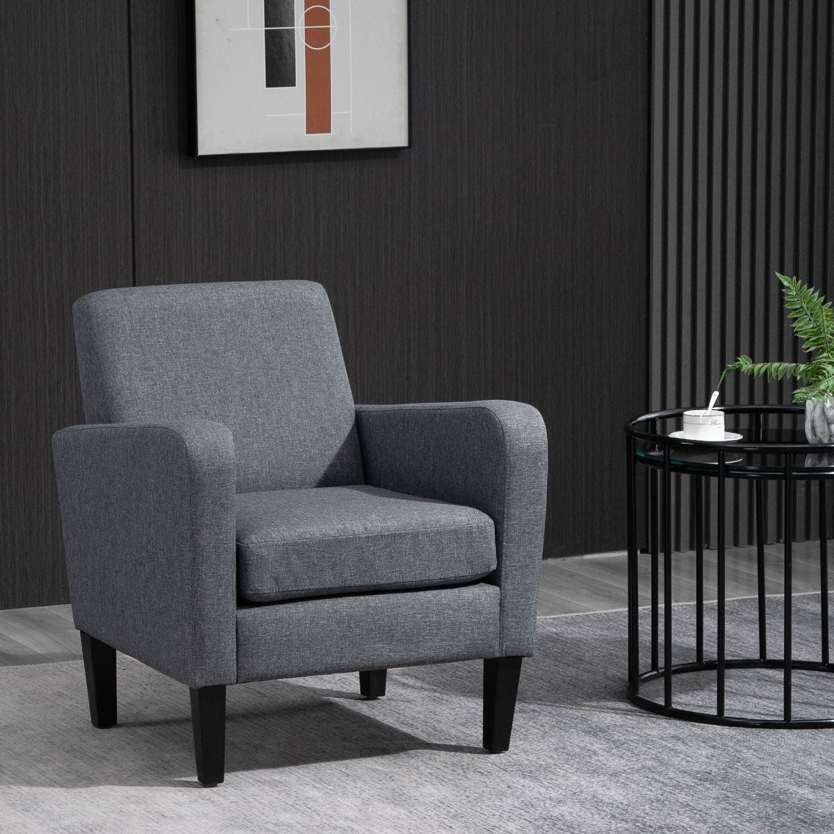 Linen Modern To Curved Armchair Accent Seat With Wood Legs Grey