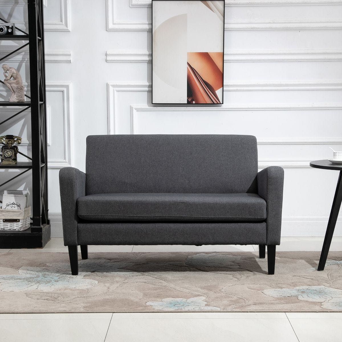 Linen Modern To Curved 2 Seater Sofa Loveseat With Wood Legs Grey