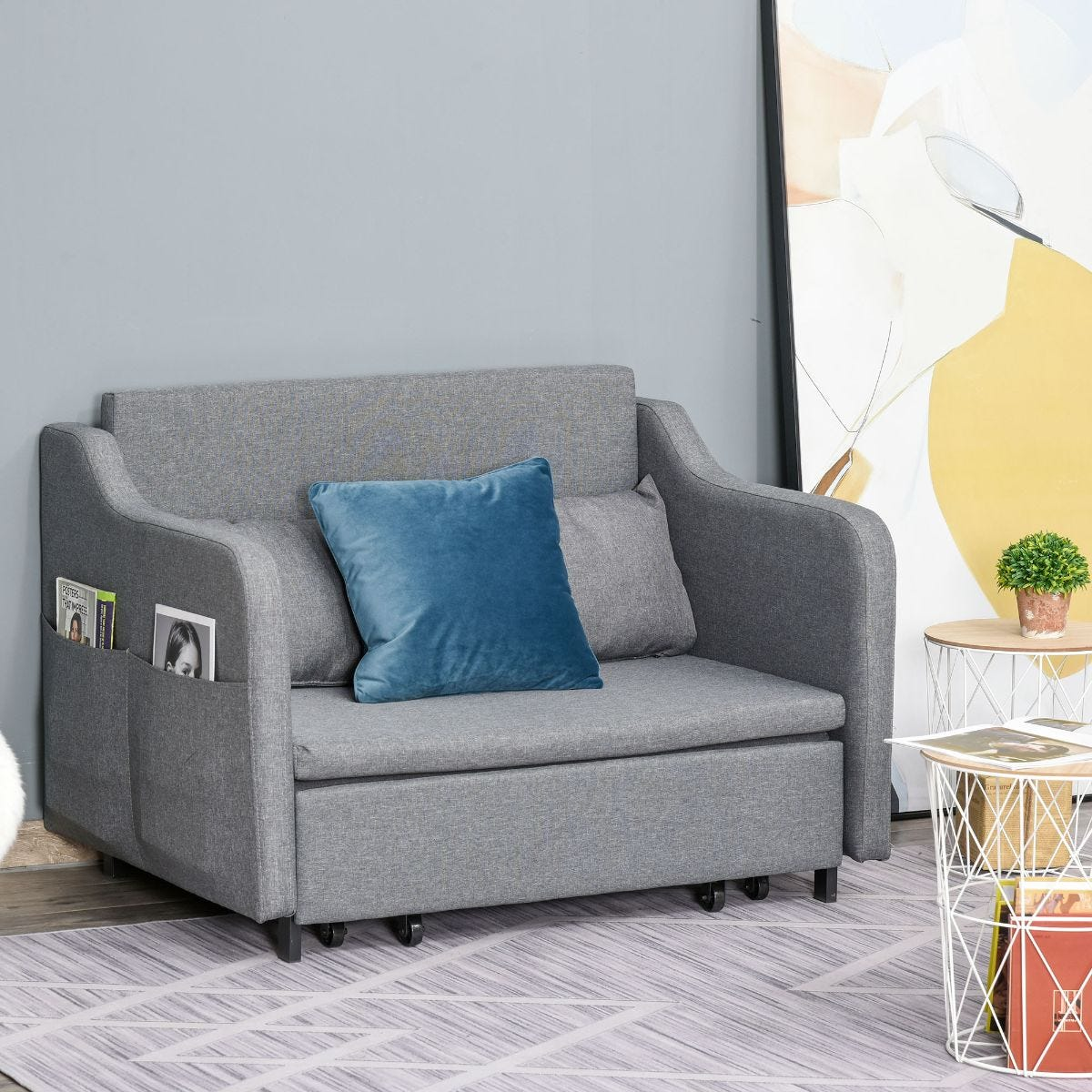 Loveseat Futon Couch Upholstery Sleeper Sofa Bed With 2 Pillow Living Room