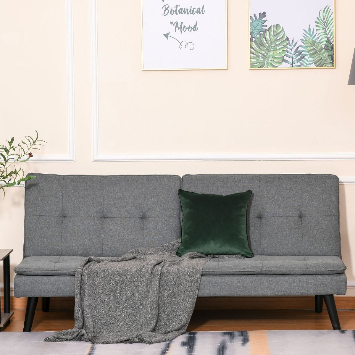 Convertible Futon Sofa Bed 3 Seater Tufted Grey