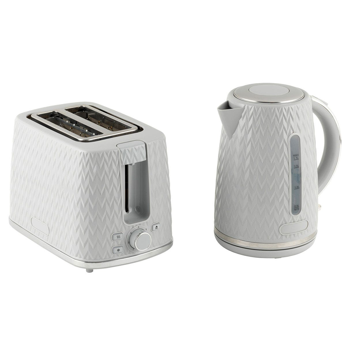 Progress COMBO-5627 Chevron Kettle and 2 Slice Toaster Breakfast Appliance Set - Grey