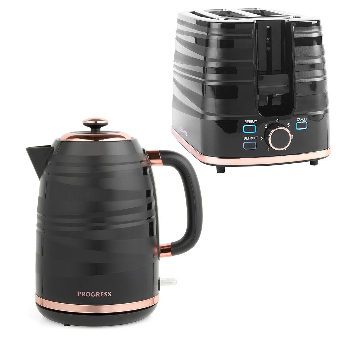 Progress COMBO-7280 Jupiter 2-Slice Toaster and 1.7L Kettle - Black & Rose Gold