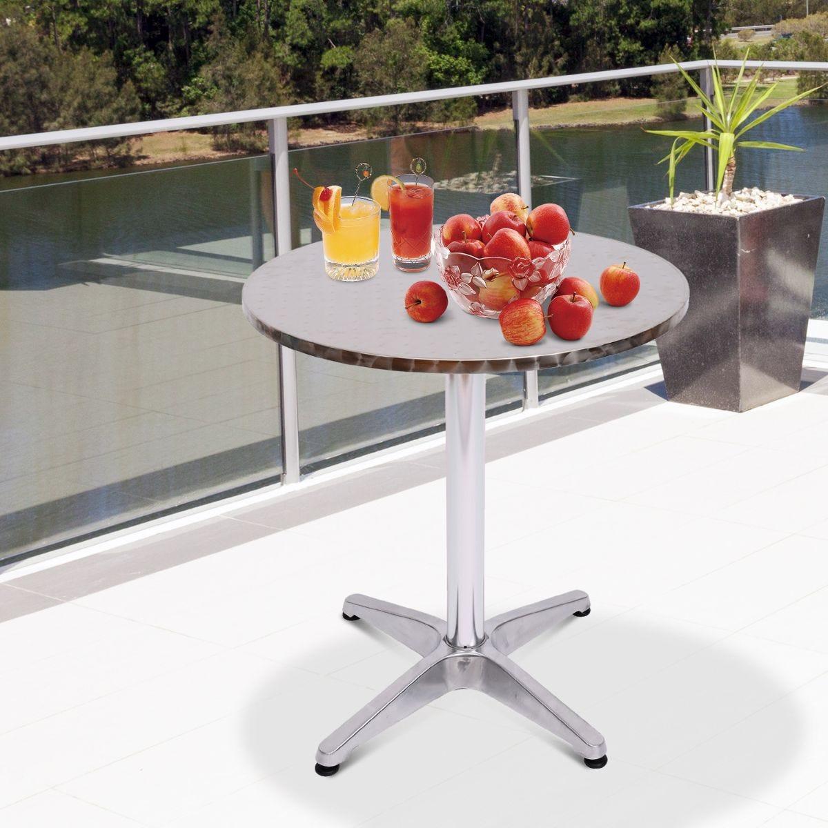 Adjustable Aluminum Bar Table Indoor Outdoor Silver