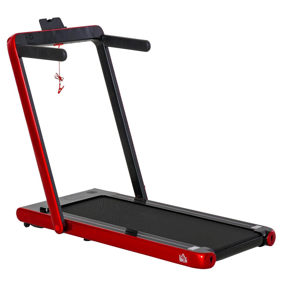 HOMCOM Electric Folding Treadmill Home Running Walking w/ Speaker, Red