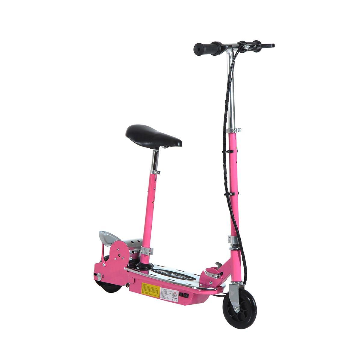 Reiten Teen Foldable E-Scooter Electric Battery 12V 120W w/ Brake Kickstand - Pink