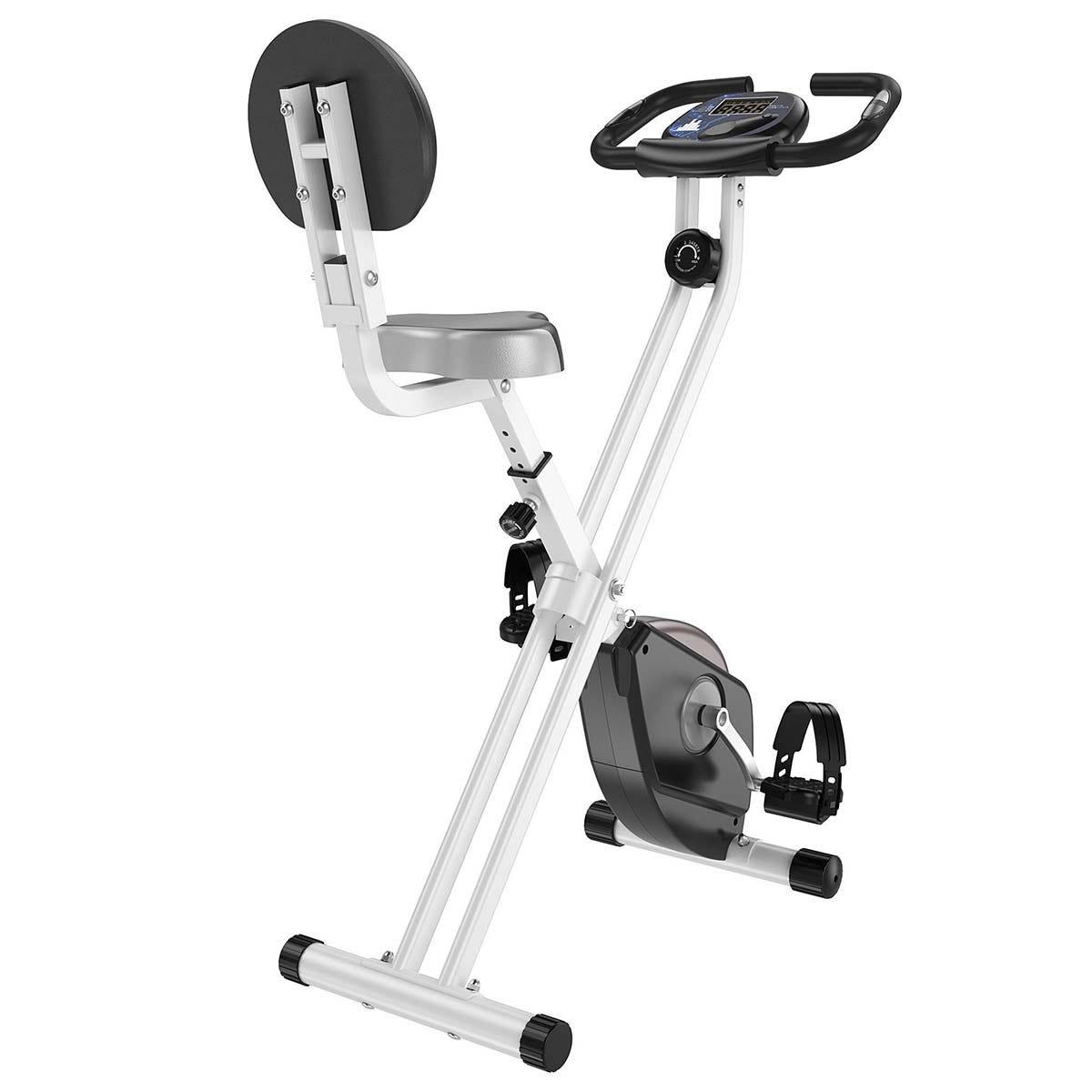 HOMCOM Magnetic Resistance Exercise Bike Foldable LCD Adjustable Seat Grey