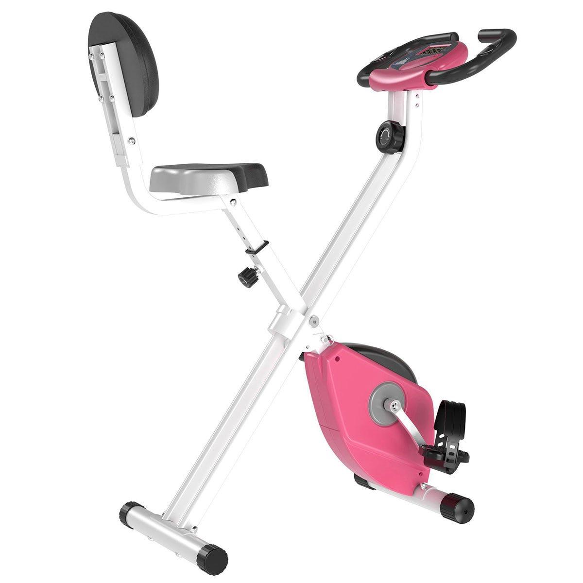 HOMCOM Magnetic Resistance Exercise Bike Foldable LCD Adjustable Seat Pink