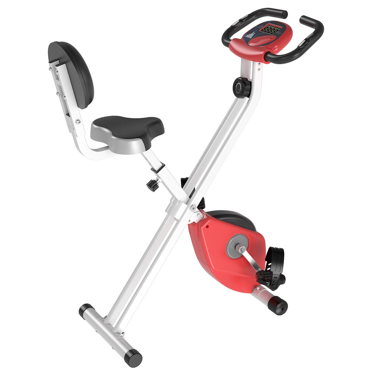 HOMCOM Magnetic Resistance Exercise Bike Foldable LCD Adjustable Seat Red