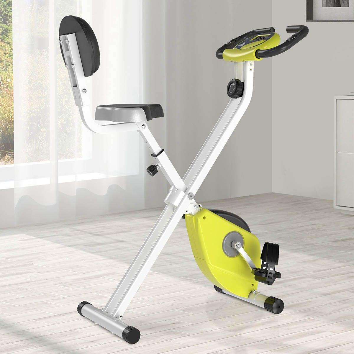 HOMCOM Magnetic Resistance Exercise Bike Foldable LCD Adjustable Seat Yellow