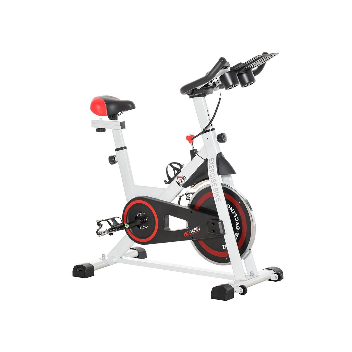 HOMCOM Exercise Cycling Bike w/ Adjustable Height/Resistance & LCD Home Gym