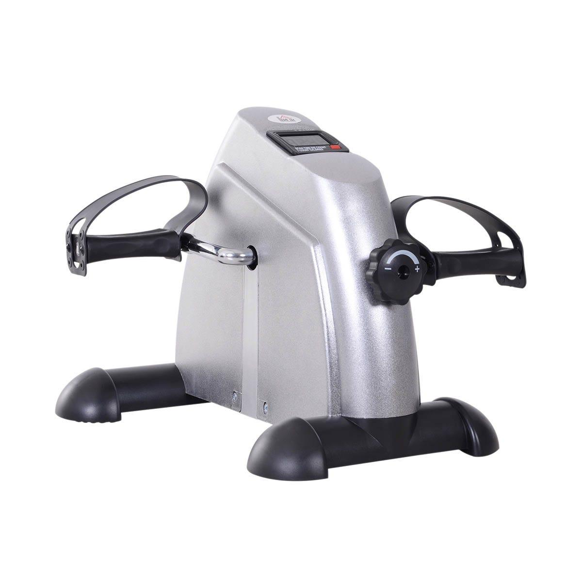 HOMCOM Mini Exercise Bike Portable Pedal Manual Machine Indoor Fitness Silver