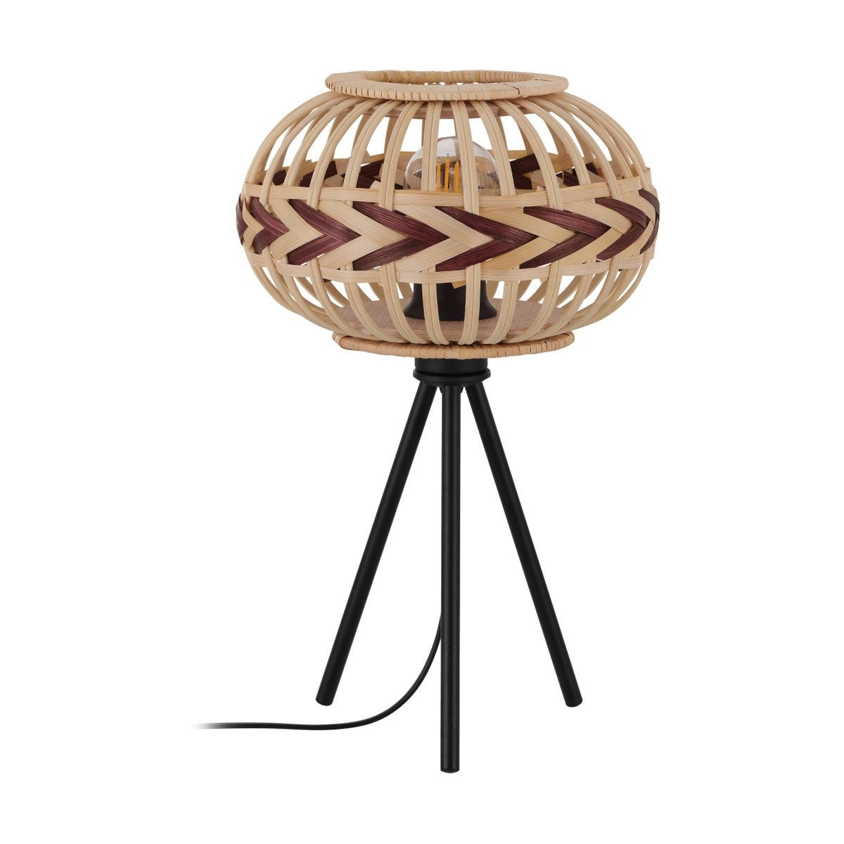 Eglo Tripod Rattan Table Lamp With Burgundy Accents