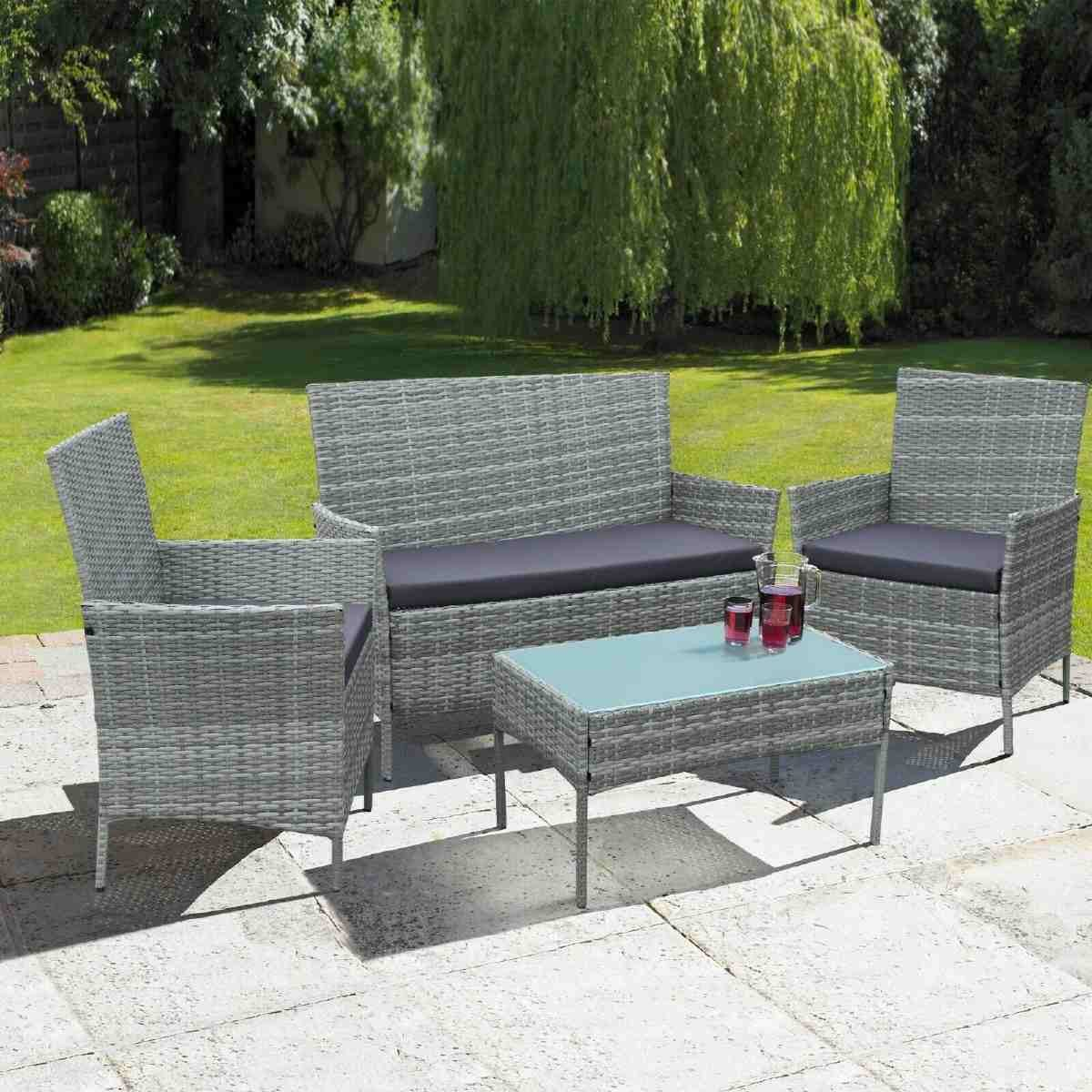 Neo Direct 4 Piece Rattan Outdoor Garden Sofa Set - Grey