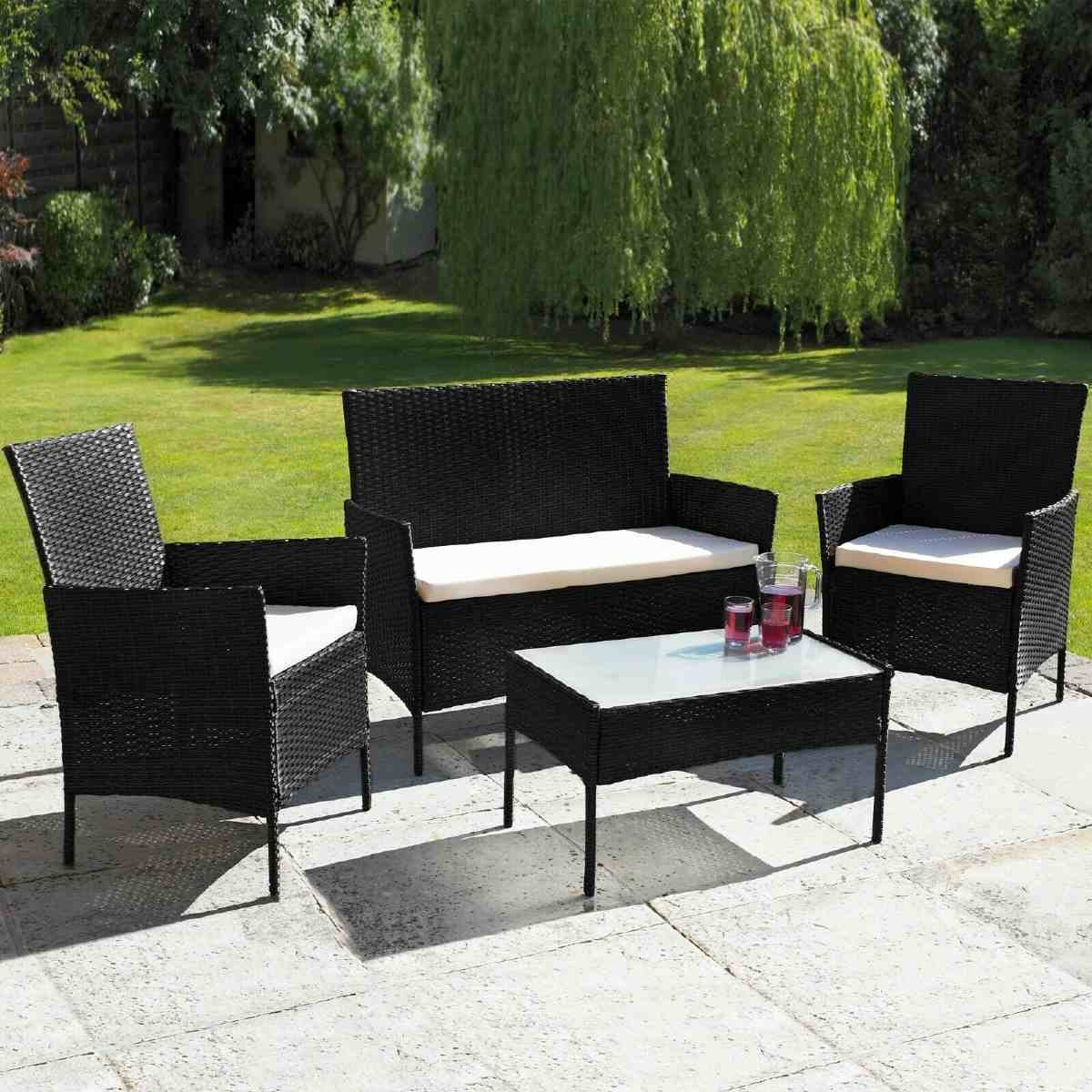 Neo Direct 4 Piece Rattan Outdoor Garden Sofa Set - Black