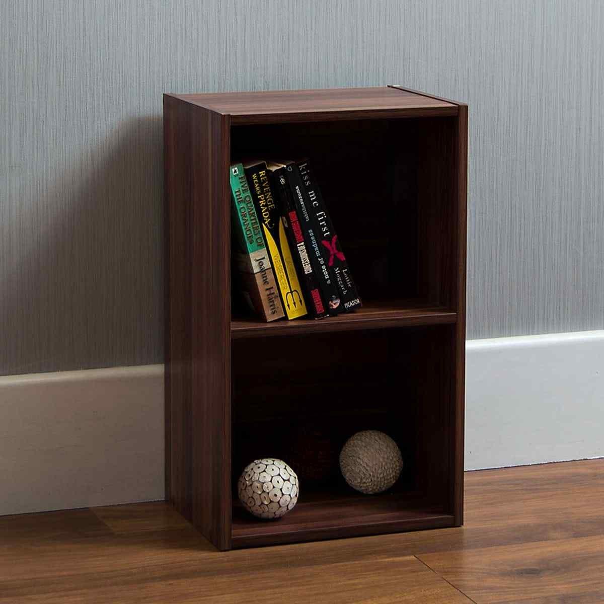 Oxford 2 Tier Cube Bookcase Walnut