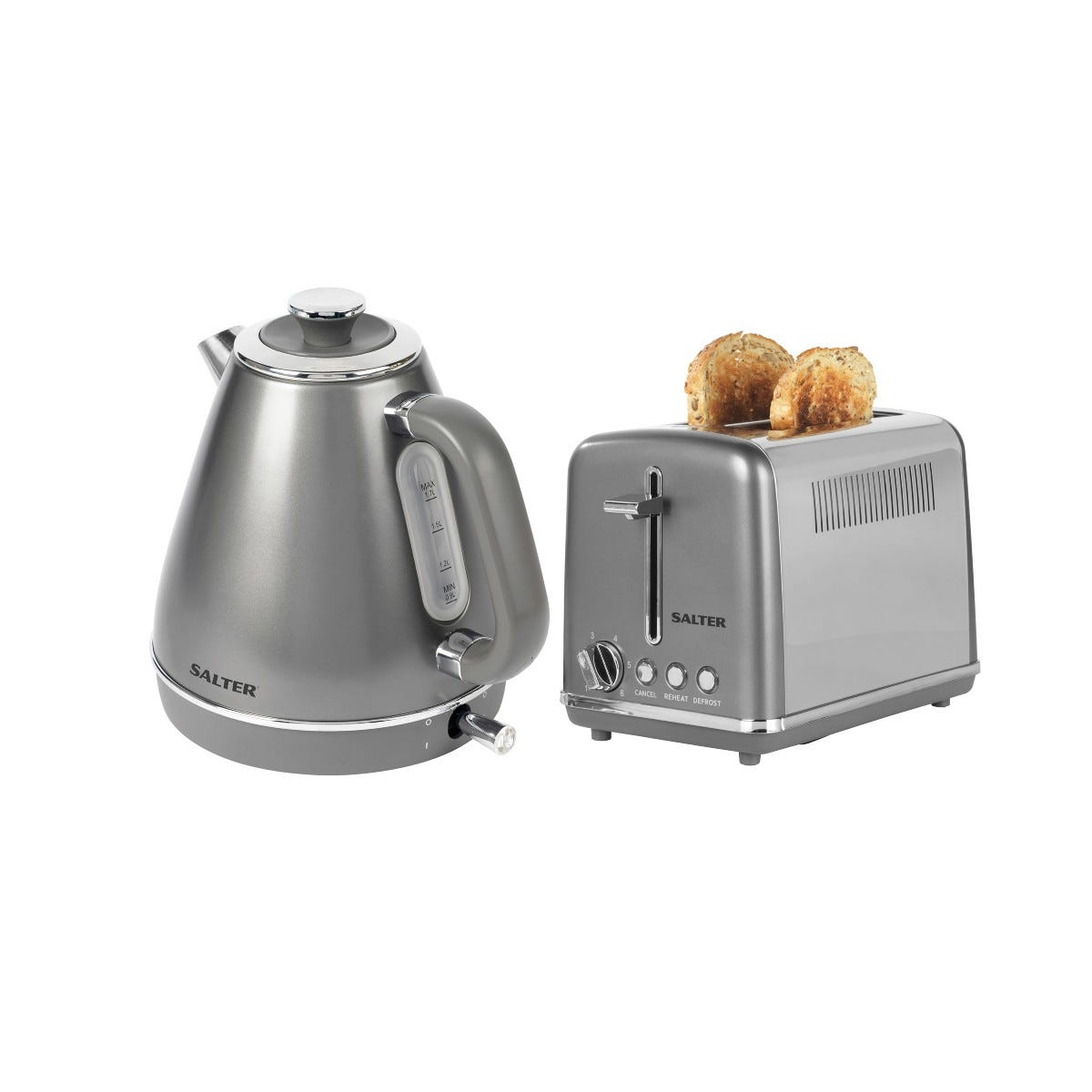 Salter COMBO-6867 Cosmos 1.7L Kettle and 2-Slice Toaster - Gunmetal Grey/Silver