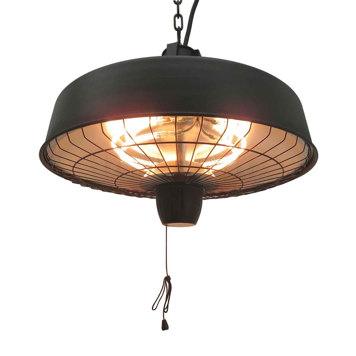 Outsunny Adjustable Infrared Halogen & Ceiling Mounted Light Heater W/ 1000/2500W Power - Black