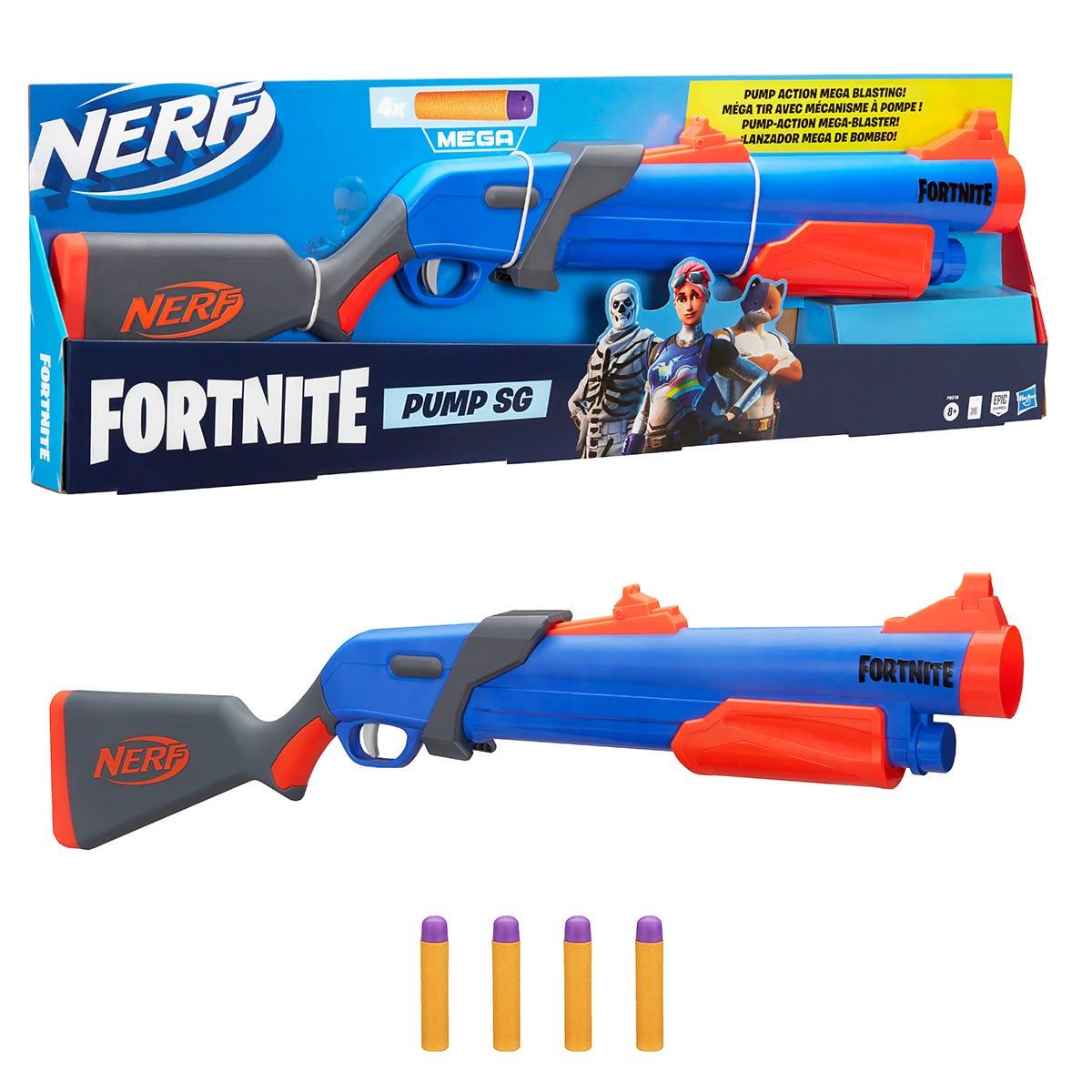 Nerf Fortnite Pump SG Blaster with Pump Action Mega Dart Blasting, Breech Load, 4 Nerf Mega Darts