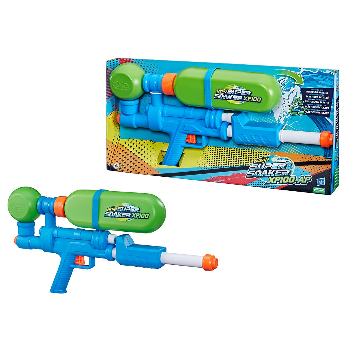 Nerf Super Soaker XP100-AP Water Blaster with Air-Pressurized Continuous Blast & Removable Tank