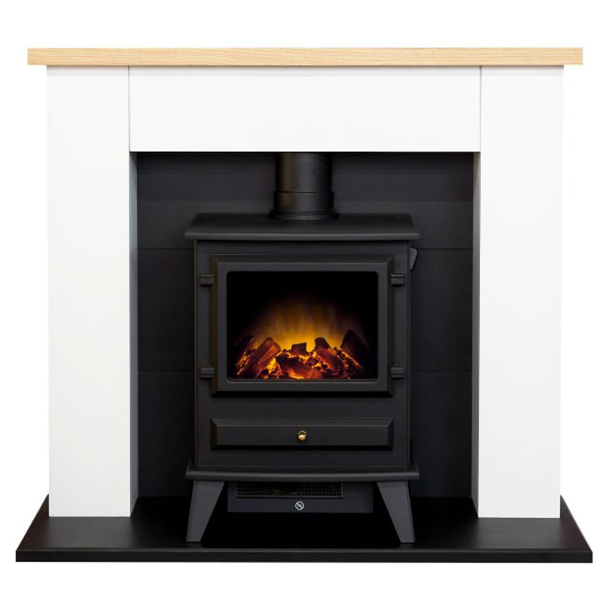 Adam Chester Stove Fireplace in Pure White with Hudson Electric Stove in Black 39 Inch